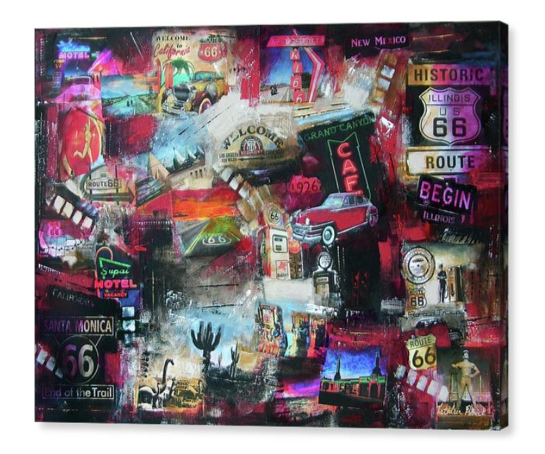 Collage Style Painting Prints on Canvas - Music, Travel and Time Themes