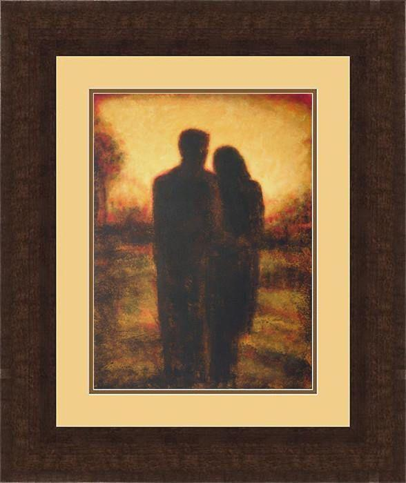 Walnut Framed Couple Painting