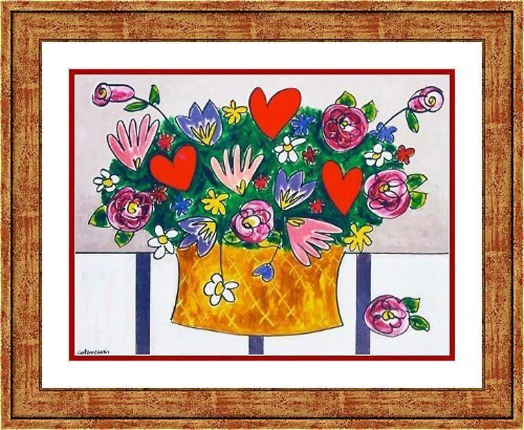 Love Bouquet Print - hearts and roses