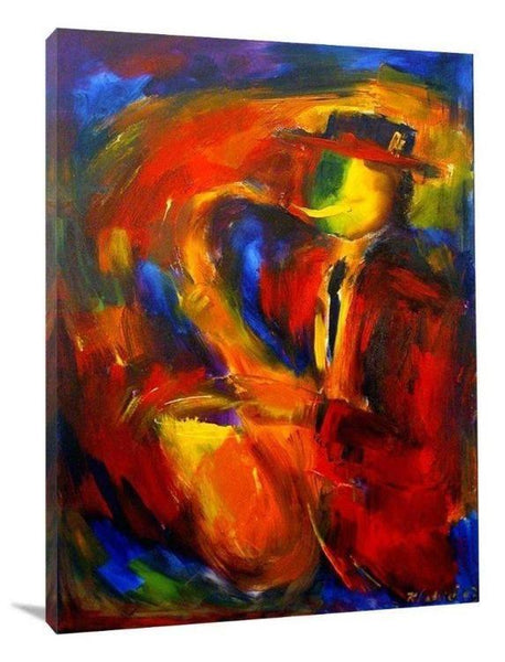 "Jazz Music Art Canvas Print - ""Saxophone Solo"" - Chicago Skyline Art"
