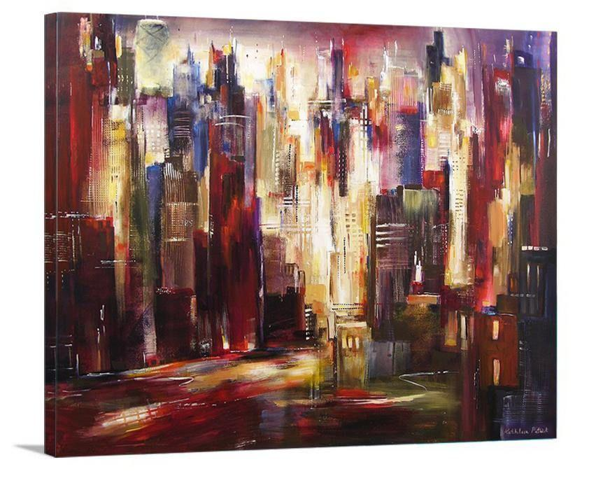 "Abstract Chicago Skyline Canvas Print  -""Chicago River Skyline"" - Chicago Skyline Art"