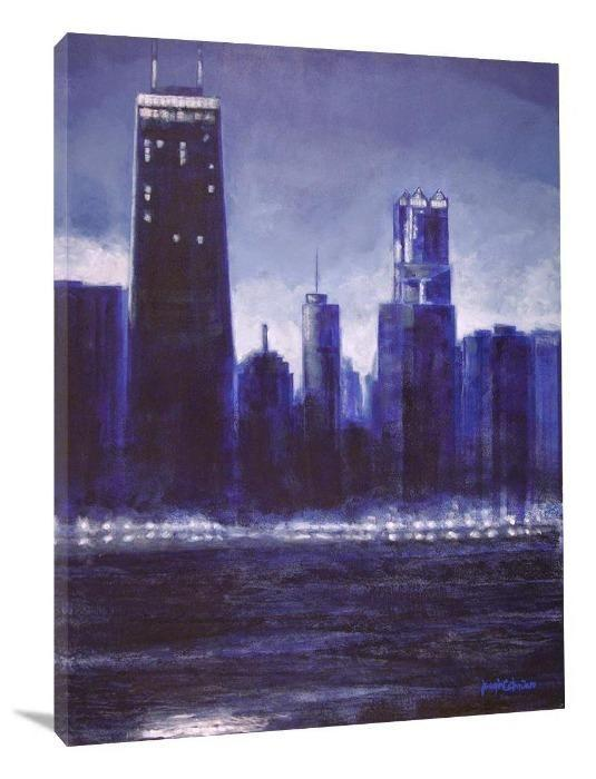 "Chicago Skyline Canvas Print - ""Chicago Skyline in Blue"" - Chicago Skyline Art"