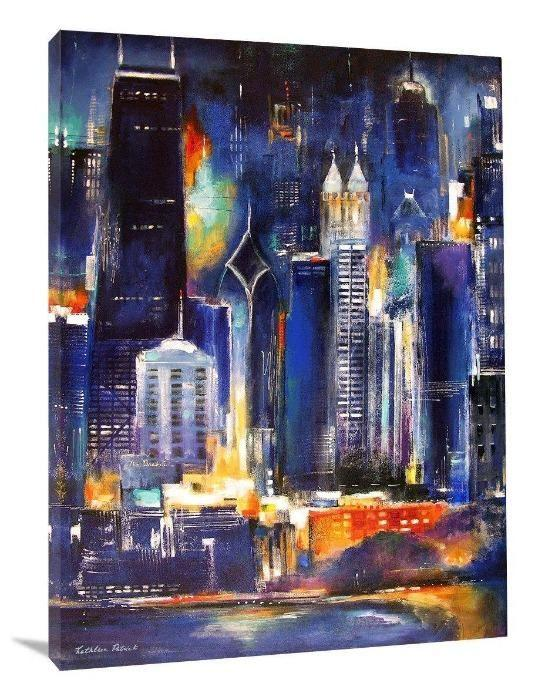 "Chicago Skyline -""Chicago Skyline at Night"" - Chicago Skyline Art"