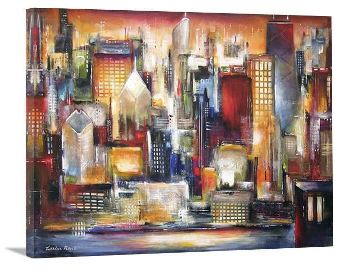 "Chicago Skyline Print - ""Chicago Summer Sunset"""