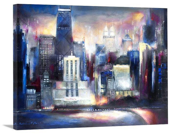 "Chicago Skyline Canvas Print- ""Oak Beach Sunset"""