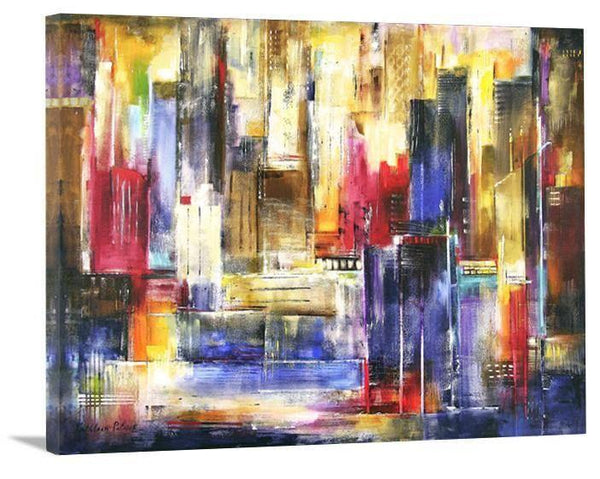 "Large Abstract Cityscape Painting Print - ""In The City Today"" - Chicago Skyline Art"