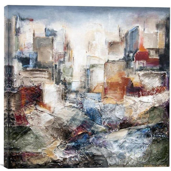 "Abstract Skyline Canvas Art Print - ""In The Urban Landscape"" - Chicago Skyline Art"