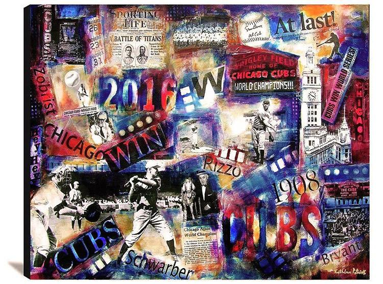 Chicago Cubs print on wood
