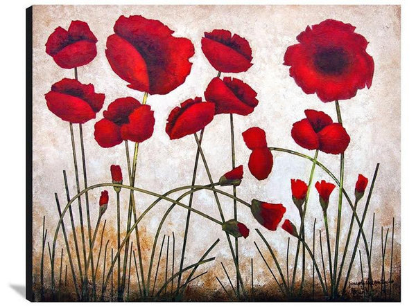 Red Poppy painting print on wood.