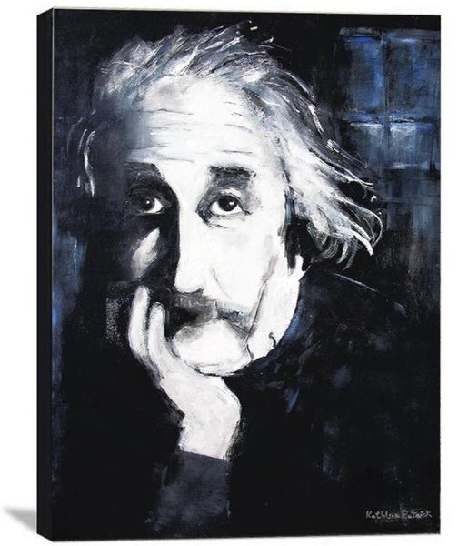 Neutral colored Einstein portrait print on wood.