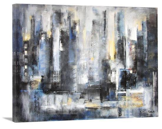 "Abstract Cityscape Canvas Art Print - ""The City View"" - Chicago Skyline Art"