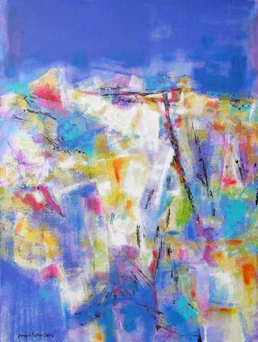 pastel and iridescent colored abstract landscape painting - print on canvas