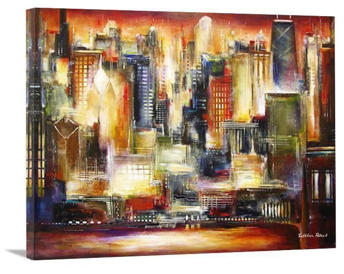 "Chicago Skyline Canvas Print -""Chicago-The Sunset Skyline"""