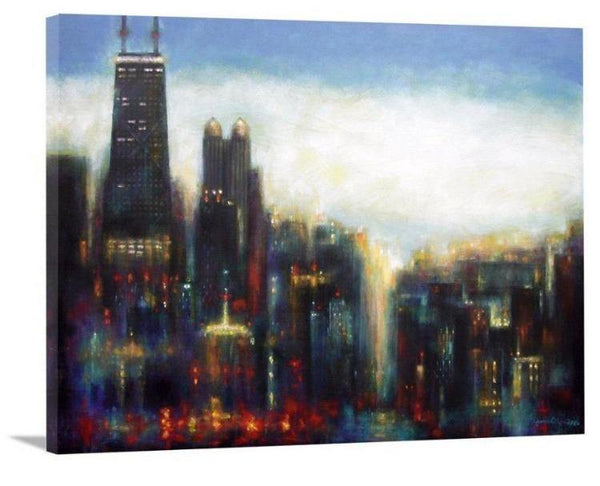 "Chicago Skyline Art Canvas Print - ""Chicago - Misty Morning"""
