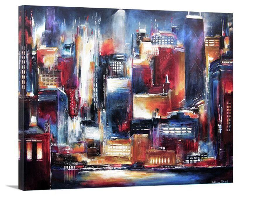 "Chicago Canvas Print - ""Chicago Night Skyline"" - Chicago Skyline Art"