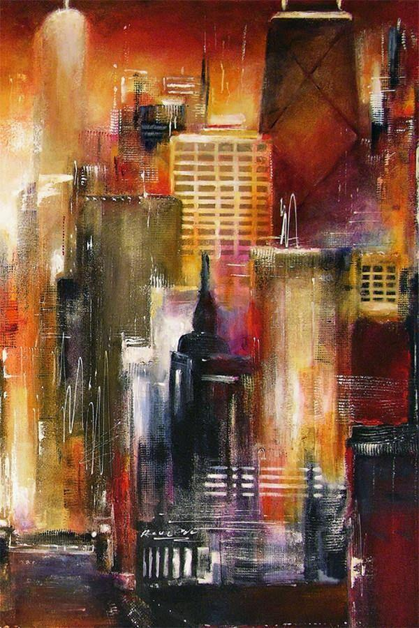 Painting print of Chicago River Skyline