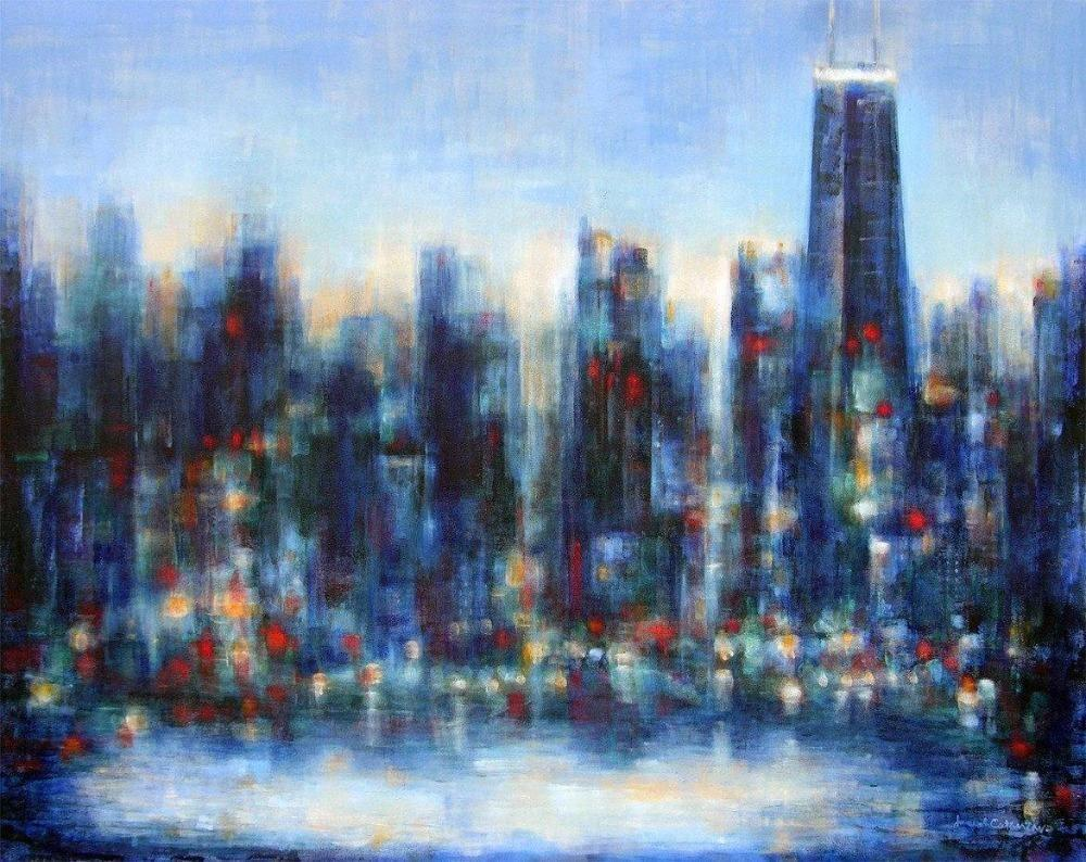 painting of Chicago skyline