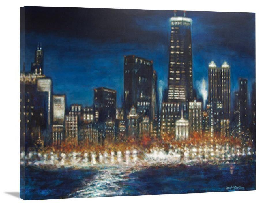 "Chicago Night Skyline Canvas Print - ""Chicago at Night"""