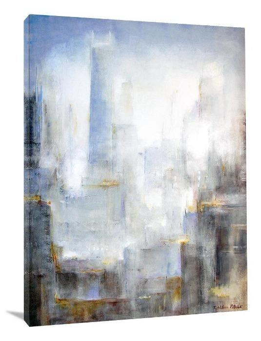 "Abstract Chicago Skyline Canvas Print - ""City in the Morning Mist"""