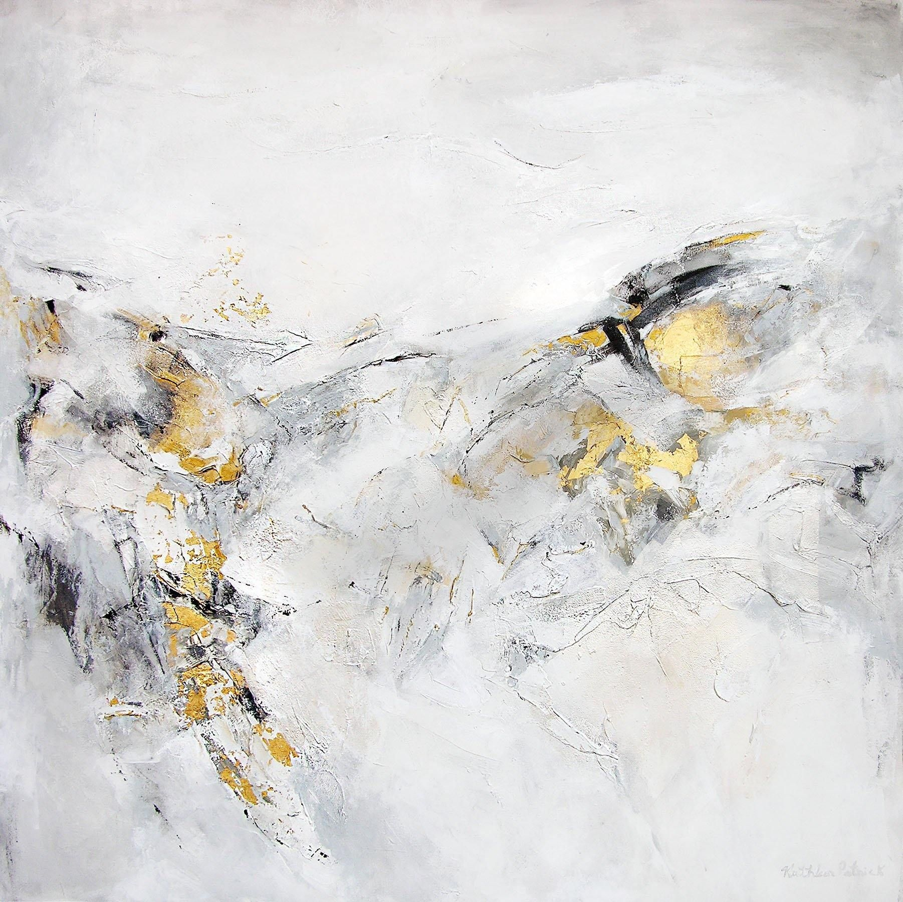 "This abstract landscape painting is heavily textured, has accents of imported gold metal leaf,, and measures 48"" x 48"" x 1.5"