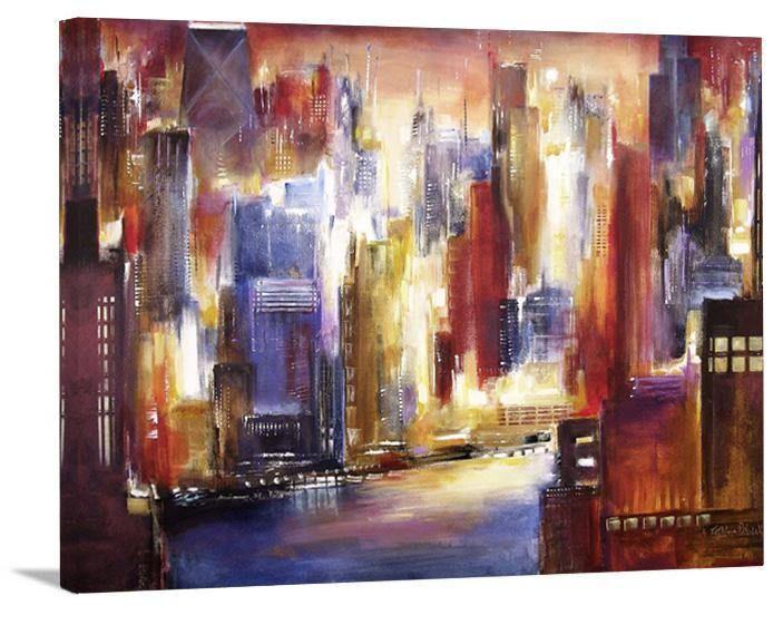 "Chicago Skyline Print on Canvas - ""Chicago - The River View"""