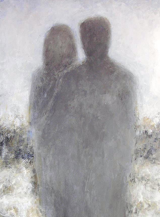 "Contemporary Couple Painting - 48"" x 36"" - ""Here With You"""