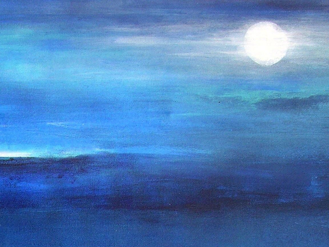 "Contemporary Landscape Painting with Full Moon - ""Moonlight - 48"" x 36"" - SOLD"