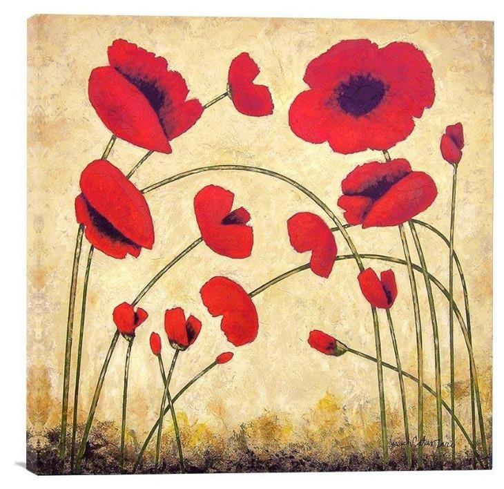 "Red Poppy Canvas Print - ""Bright Red Poppies"" - Chicago Skyline Art"
