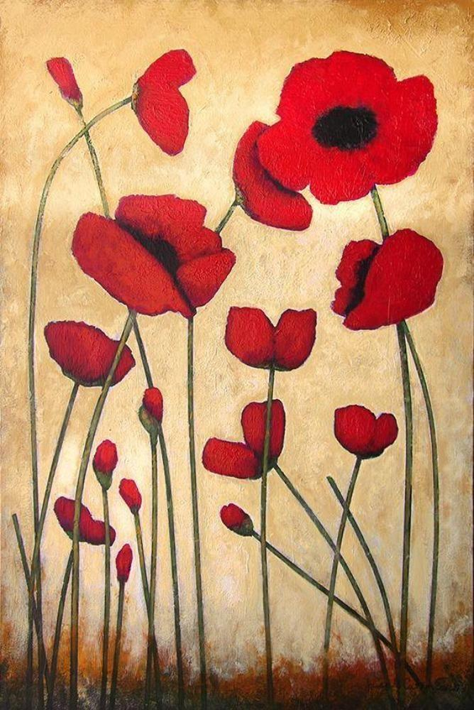 Red poppy art print on canvas.
