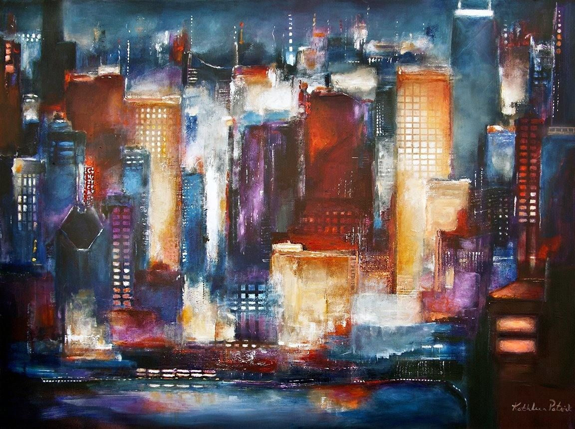 Large Painting of Chicago Skyline from the Lakefront on Canvas