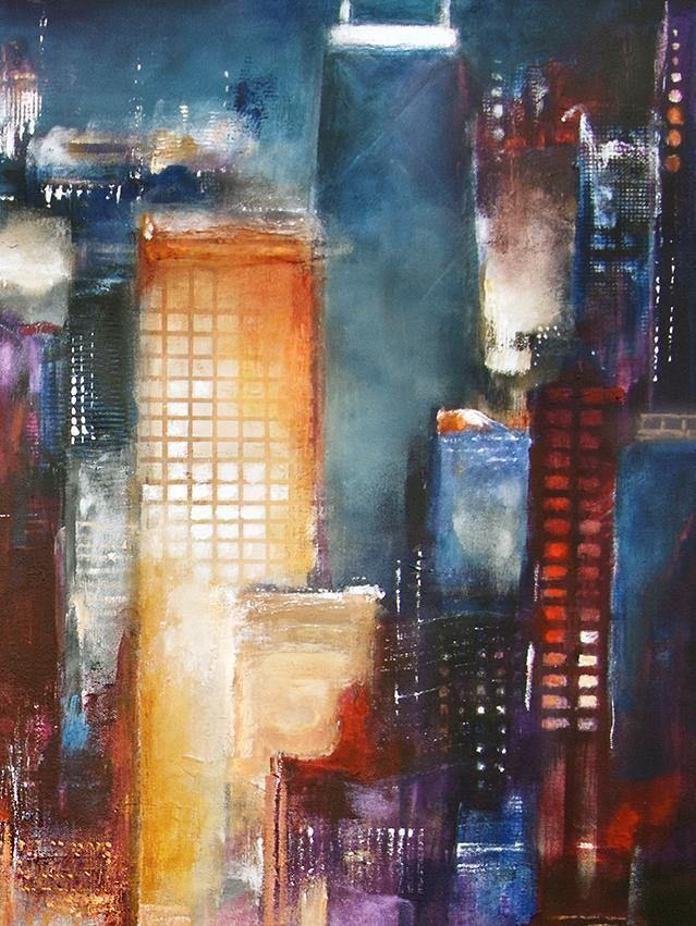 "Painting of Chicago -""Chicago Lakefront""  36"" x  48"" x 1.5"" -SOLD"