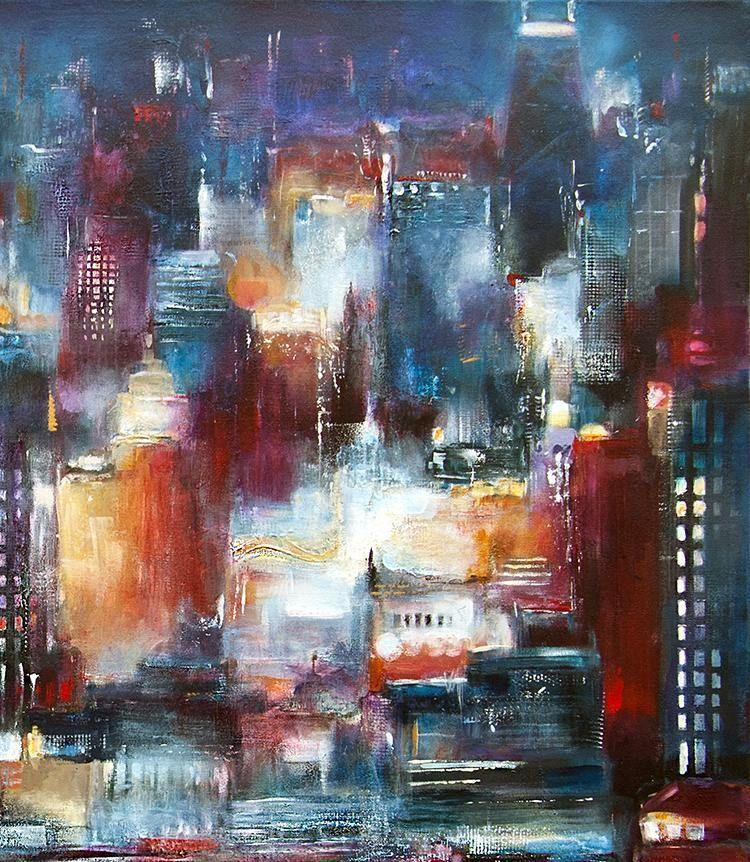 "Original Painting of Chicago - ""Chicago - Looking North"" detail 2"