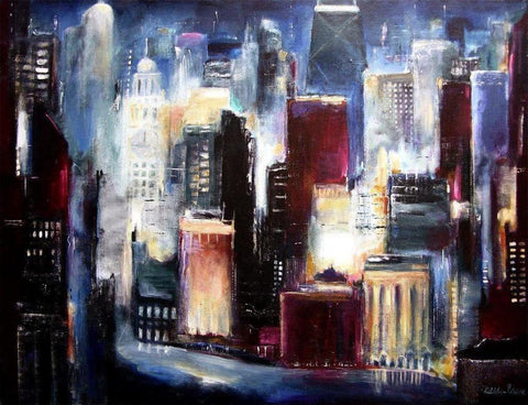 Original Chicago Skyline Painting Print