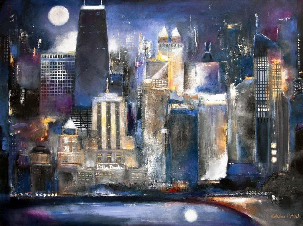 "Chicago Skyline Canvas Wrap Print -  ""Moon Over Oak Beach"""