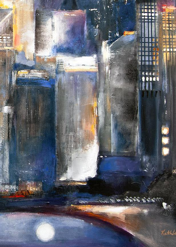 "Original Painting of Chicago-  ""Moon Over Oak Beach"" - 36"" x 48"" x 1.5"" - SOLD"