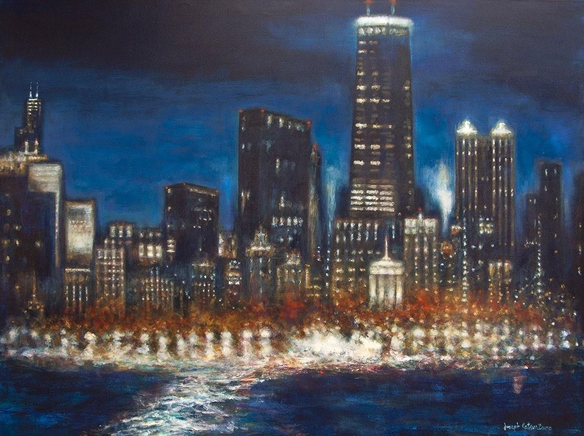 "Original Painting of Chicago Skyline - ""Chicago at Night - 2018"""
