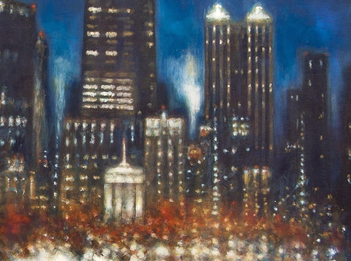"Original Painting of Chicago Skyline  - ""Chicago at Night - 2018"" "" 36"" x 48"" x 1.5"" - SOLD"