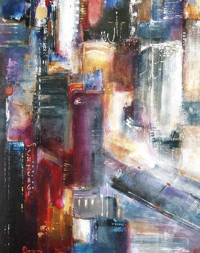 "Large Chicago Skyline Painting - ""The Bridge is Up - Chicago"" - 48"" X 36"" x 1.5"" -SOLD"