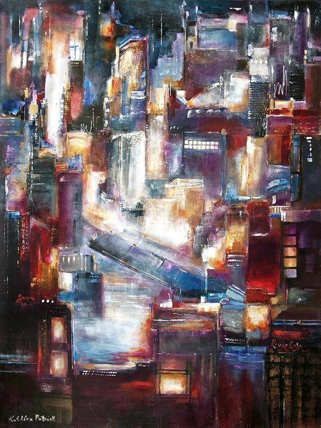 "Chicago Skyline Painting - ""The Bridge is Up - Chicago"""