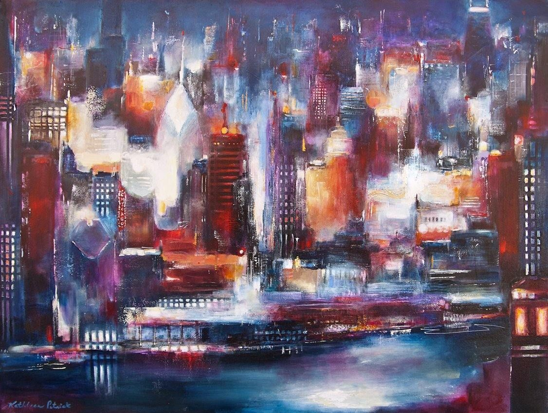 "Large Original Painting of Chicago on Canvas - ""Chicago- Looking North"""