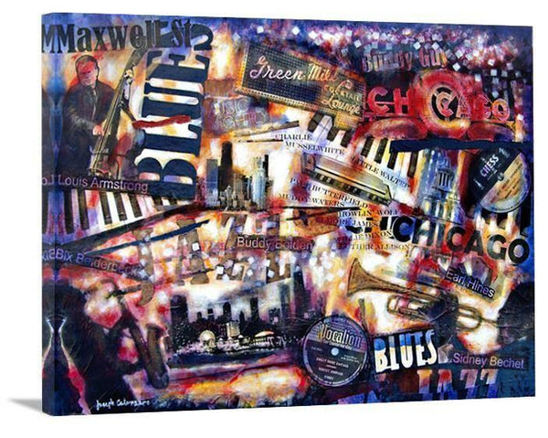 "Music Art Canvas Print - ""Blues and Jazz - Chicago Style"" - Chicago Skyline Art"
