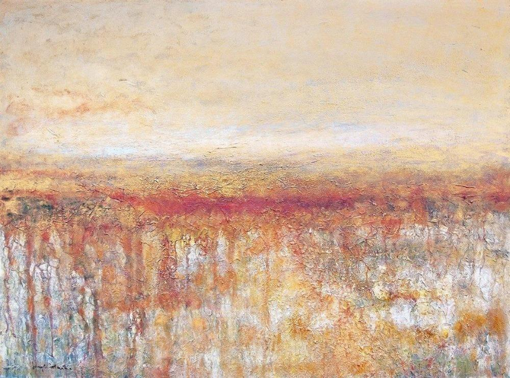 "Contemporary Landscape Print on Canvas- ""Golden Sky, Amber Fields"""