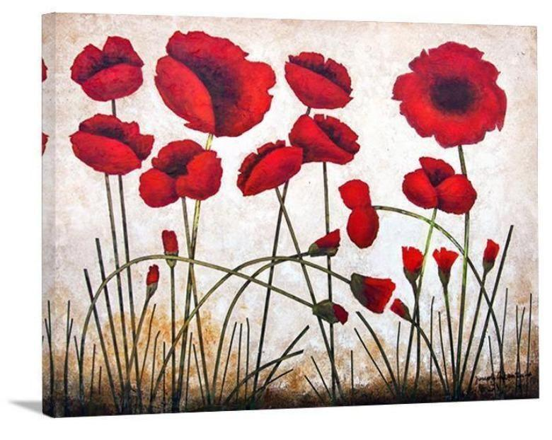 "Red Poppy Canvas Print - "" Poppies Growing"""