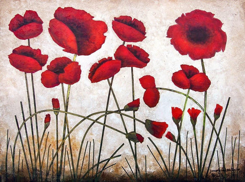 "Red Poppy Painting on Canvas- "" Poppies Growing"" - 30"" x 40"" x 1.5"""