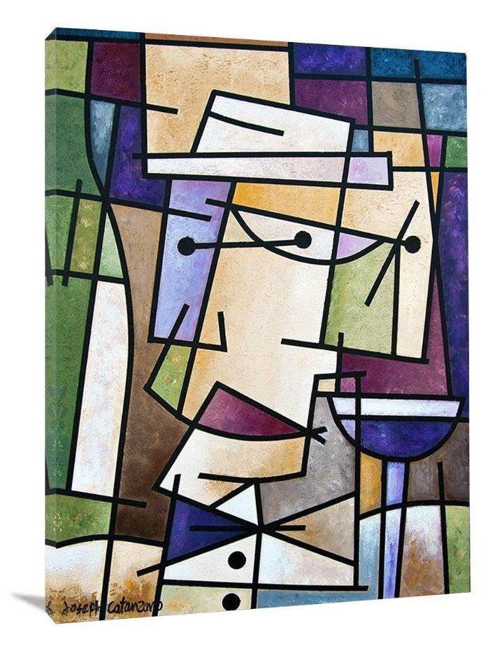 "Wine Art Print on Canvas - ""A Glass of Red Wine"""