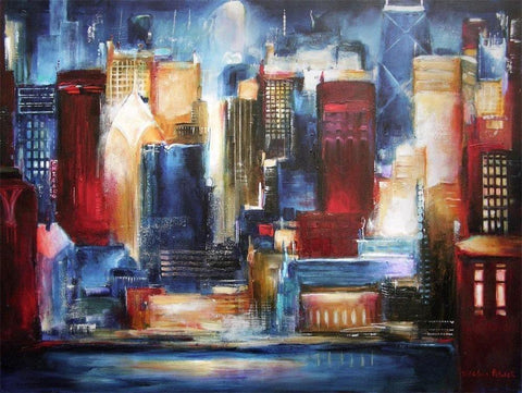 Chicago Cityscape Painting Print