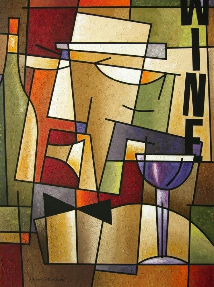 Wine Art Print on Canvas - colorful abstract wine painting print