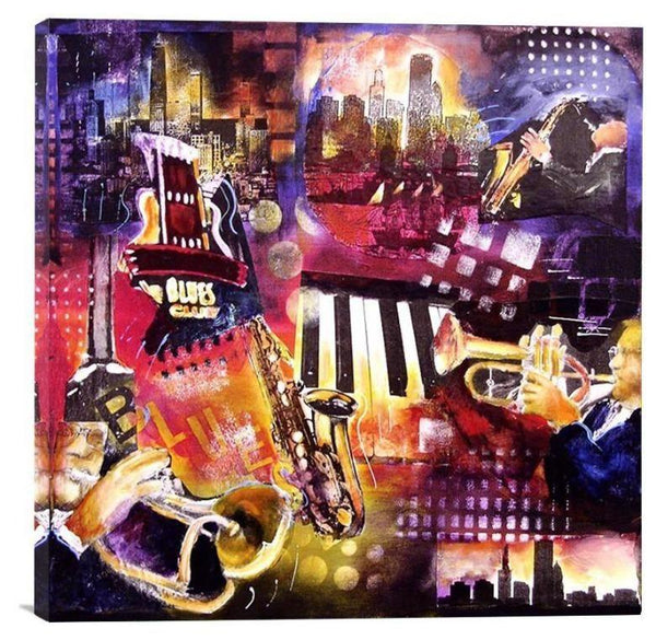 "Chicago Blues Music  Art Print - ""Blues - Chicago"" - Chicago Skyline Art"