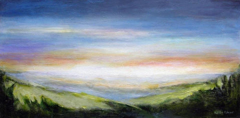 "Contemporary Landscape Painting Print - ""Misty Morning View"""