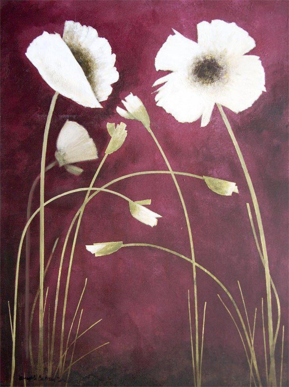 White poppies on canvas print